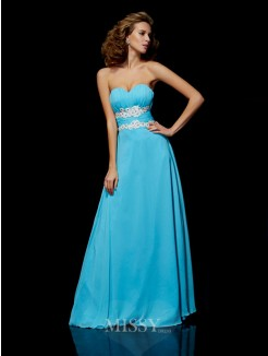 A-Line Sleeveless Sweetheart Applique Chiffon Floor-Length Dress