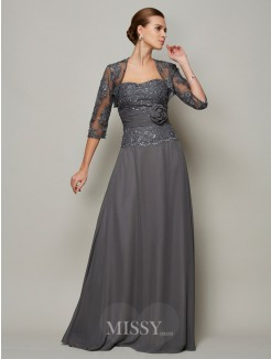 A-Line Chiffon Sleeveless Sweetheart Applique Floor-Length Mother Of The Bride Dress