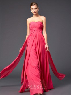A-Line Floor-Length Sweetheart Chiffon Pleats Sleeveless Dress