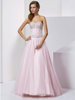 Ball Gown Beading Sweetheart Sleeveless Floor-Length Satin Dress