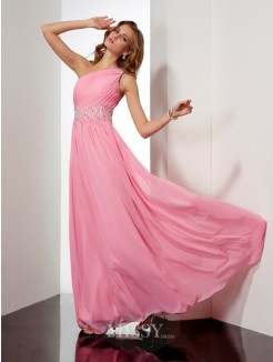 Beading A-Line Chiffon One-Shoulder Sleeveless Floor-Length Dress