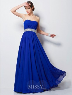 Empire Sweetheart Sleeveless Beading Floor-Length Chiffon Dress