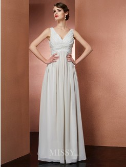 A-Line V-Neck Sleeveless Floor-Length Chiffon Dress