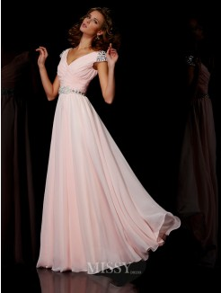 A-Line V-neck Floor-length Short Sleeves Beading Chiffon Dress