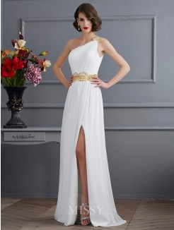 A-Line One-Shoulder Sleeveless Ruched Sweep/Brush Train Chiffon Dress