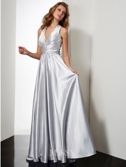 A-Line Sleeveless Floor-Length Halter Pleats Elastic Woven Satin Dress