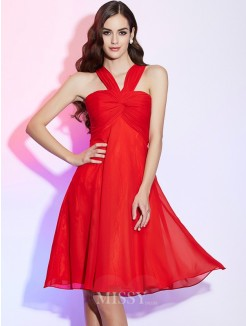 A-Line Halter Pleats Sleeveless Chiffon Knee-Length Bridesmaid Dress
