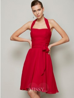 A-Line Halter Hand-Made Flower Pleats Sleeveless Chiffon Dress
