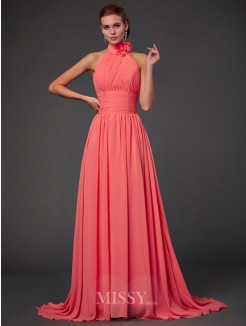 A-Line Sleeveless Halter Chiffon Bridesmaid Dress