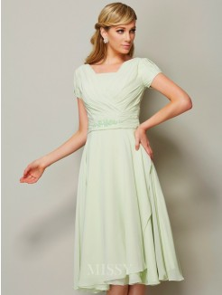 A-Line Bateau Short Sleeves Chiffon Knee-Length Ruffles Bridesmaid Dress