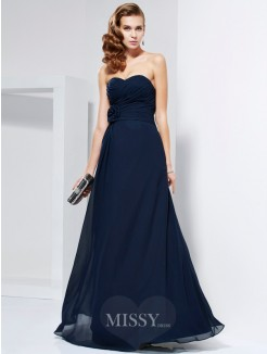 A-Line Hand-Made Flower Sweetheart Sleeveless Pleats Floor-Length Chiffon Dress