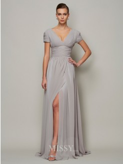 A-Line V-neck Floor-length Short Sleeves Chiffon Dress