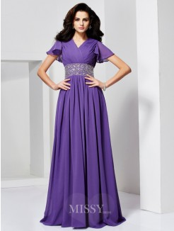 A-Line Short Sleeves V-neck Beading Floor-Length Chiffon Dress