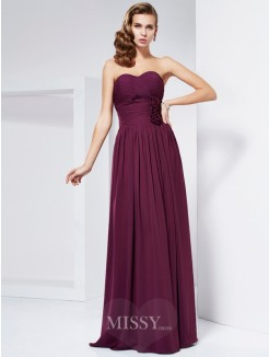 Sheath Hand-Made Flower Sweetheart Sleeveless Pleats Floor-Length Dress