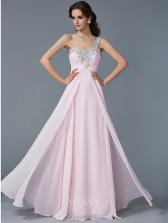 A-Line One-Shoulder Sleeveless Beading Applique Chiffon Floor-Length Dress