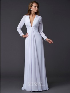 Sheath Long Sleeves V-neck Ruched Floor-Length Chiffon Dress