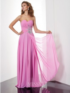 A-Line Floor-Length Sleeveless Ruched Sweetheart Chiffon Dress