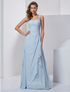 Beading A-Line Straps Sleeveless Floor-Length Chiffon Dress