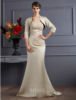 Mermaid Strapless Sleeveless Applique Satin Mother of the Bride Dress
