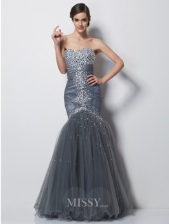 Mermaid Sweetheart Sleeveless Beading Floor-Length Satin Dress