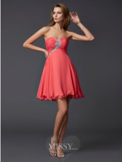 Beading A-Line Sweetheart Sleeveless Mini Chiffon Dress