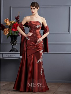 Sheath Sleeveless Strapless Applique Floor-Length Beading Taffeta Dress