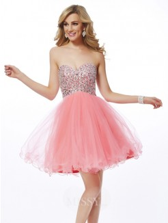 A-Line Sweetheart Beading Sleeveless Mini Net Dress