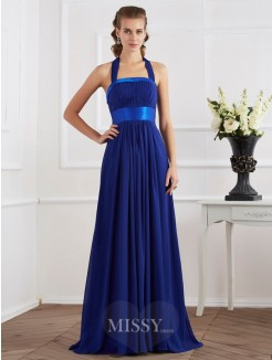 A-Line Halter Sleeveless Ruched Floor-Length Chiffon Dress
