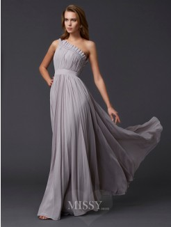 A-Line Sleeveless Pleats One-Shoulder Floor-Length Chiffon Dress