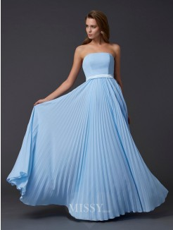 A-Line Strapless Sleeveless Ruched Chiffon Floor-Length Dress