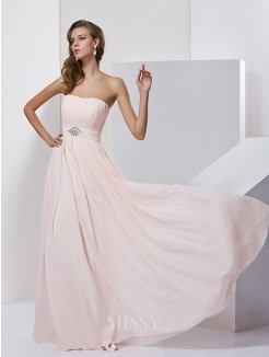 A-Line Sleeveless Strapless Chiffon Floor-Length Dress
