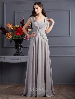 A-Line Sleeveless Square Beading Chiffon Floor-Length Dress