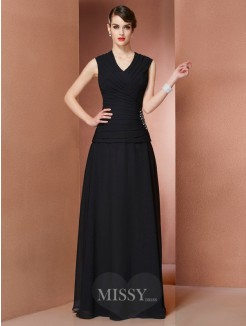 A-Line V-neck Sleeveless Floor-Length Beading Chiffon Dress