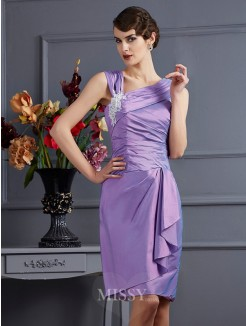 Sheath Taffeta Sleeveless Applique Knee-Length Bridesmaid Dress