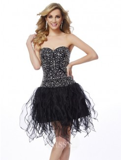 Sweetheart Sheath Sleeveless Beading Mini Organza Dress