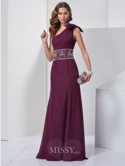 A-Line Sleeveless One-Shoulder Beading Floor-Length Chiffon Dress