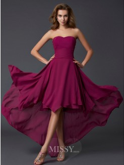 A-Line Sleeveless Sweetheart Pleats Chiffon Asymmetrical Dress