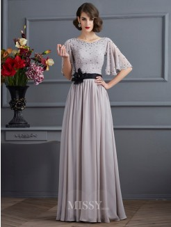 A-Line High Neck 1/2 Sleeves Beading Chiffon Floor-Length Dress