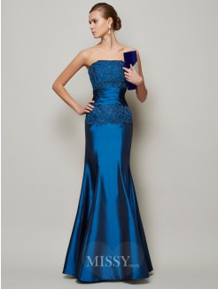 Mermaid Strapless Beading Applique Floor-Length Taffeta Dress