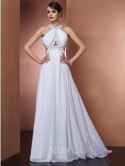 A-Line Bateau Sleeveless Beading Sweep/Brush Train Chiffon Dress