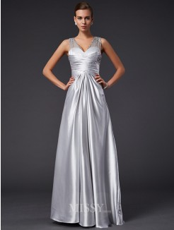 A-Line V-neck Floor-length Sleeveless Beading Elastic Woven Satin Dress