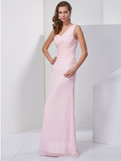 Sheath Sleeveless One-Shoulder Beading Floor-Length Chiffon Dress