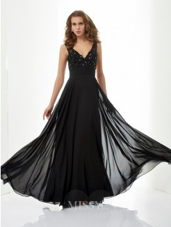 A-Line V-neck Sleeveless Straps Beading Chiffon Floor-Length Dress