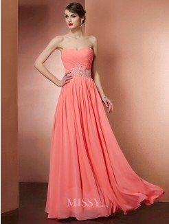 A-Line Strapless Sleeveless Beading Chiffon Pleats Floor-Length Dress