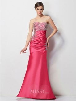 Mermaid Sweetheart Pleats Beading Floor-Length Taffeta Dress