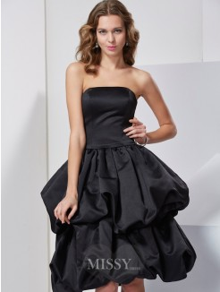 A-Line Sleeveless Strapless Satin Knee-Length Dress