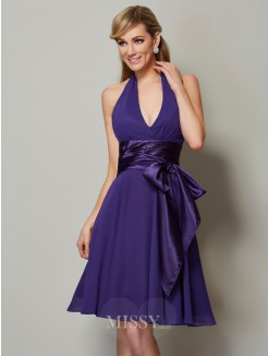 A-Line Halter Sleeveless Knee-Length Chiffon Bridesmaid Dress