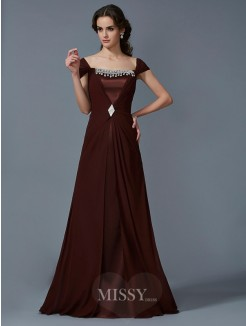 A-Line Strapless Short Sleeves Floor-Length Chiffon Dress