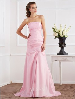 Mermaid Sleeveless Strapless Beading Taffeta Sweep/Brush Train Dress