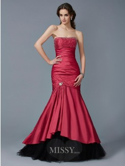 Mermaid Strapless Beading Sleeveless Floor-Length Taffeta Dress